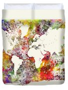 World Map In Watercolor  Duvet Cover