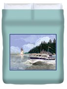 43 Foot Tollycraft Southbound In Clovos Passage Duvet Cover