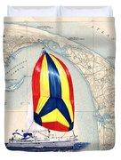 39 Foot Beneteau Cape Cod Chart Art Duvet Cover