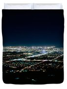 Aerial View Of A City Lit Up At Night Duvet Cover