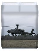 An Ah-64 Apache Helicopter In Midair Duvet Cover