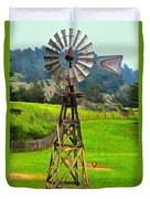 Painting San Simeon Pines Windmill Duvet Cover