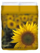 Close-up Of Sunflowers In A Field Duvet Cover