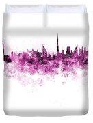 Dubai Skyline In Watercolour On White Background Duvet Cover