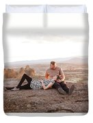 Engaged Couple At Smith Rock In Oregon Duvet Cover