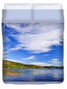 Fall Forest And Lake Duvet Cover