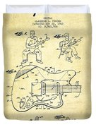 Fender Guitar Patent Drawing From 1960 Duvet Cover by Aged Pixel