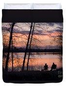 Fly Fishing At Sunset Duvet Cover