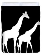 Giraffe In Black And White Duvet Cover