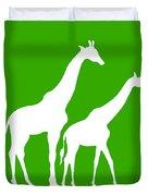 Giraffe In Green And White Duvet Cover