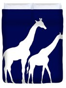 Giraffe In Navy And White Duvet Cover