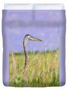 Great Blue Heron On The Prairie Duvet Cover