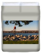Lighthouse In Lake Michigan Nature Scenary Near Racine Wisconsin Duvet Cover