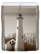 Lighthouse - Sturgeon Point Michigan Duvet Cover