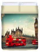 London Uk Red Bus In Motion And Big Ben Duvet Cover