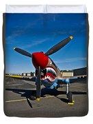 Nose Art On A Curtiss P-40e Warhawk Duvet Cover