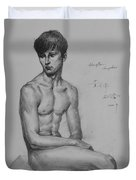 Original Drawing Sketch Charcoal Chalk Male Nude Gay Man Art Pencil On Paper By Hongtao Duvet Cover