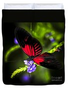 Red Heliconius Dora Butterfly Duvet Cover