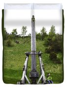 Replica Of Wooden Trebuchet On The Path Leading To The Urquhart Castle Duvet Cover