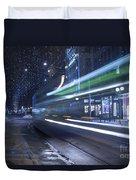 Tram At Night Duvet Cover