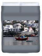 A Boat In The Harbor Of Mykonos Greece Duvet Cover