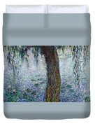 Waterlilies Morning With Weeping Willows Duvet Cover