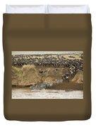 Wildebeests Crossing Mara River, Kenya Duvet Cover