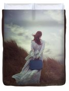 Woman With Suitcase Duvet Cover