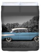 57 Chevy Black And White And Color Duvet Cover