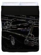 57 Chevy Neon Glow Duvet Cover by Steve McKinzie