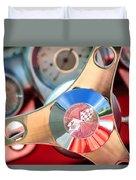 1960 Chevrolet Corvette Steering Wheel Emblem Duvet Cover by Jill Reger