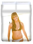 A Surfer Girl Poses For Fun Portraits Duvet Cover