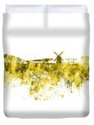 Amsterdam Skyline In Watercolor On White Background Duvet Cover