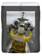 Aviation Boatswains Mate Directs An Duvet Cover
