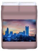 Early Morning Sunrise Over Charlotte City Skyline Downtown Duvet Cover