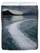 Ice Pattern On Frozen Abraham Lake Duvet Cover