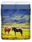 Icelandic Ponies Duvet Cover