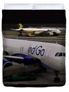 Indigo Aircraft Getting Ready In Changi Airport Duvet Cover