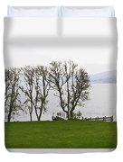 Loch Ness And Boat Jetty Next To Urquhart Castle Duvet Cover