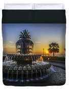 Sun Rays Over Waterfront Park Duvet Cover