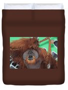 Portrait Of A Large Male Orangutan Duvet Cover