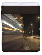 Tram At Night Duvet Cover