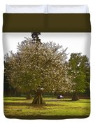Tree With Large White Flowers Duvet Cover