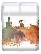 Warsaw City Skyline Duvet Cover