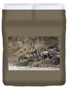 Wildebeests Crossing Mara River, Kenya Duvet Cover