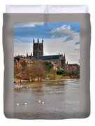 Worcester Cathedral And Swans Duvet Cover
