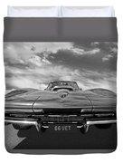 66 Vette Stingray In Black And White Duvet Cover