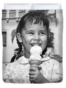 Girl With Ice Cream Cone Duvet Cover