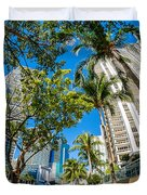 Downtown Miami Brickell Fisheye Duvet Cover