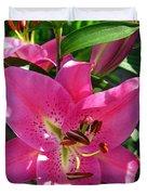 Dwarf Oriental Lily Named Farolito Duvet Cover
